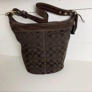 Coach Brown Jacquard Leather Bag